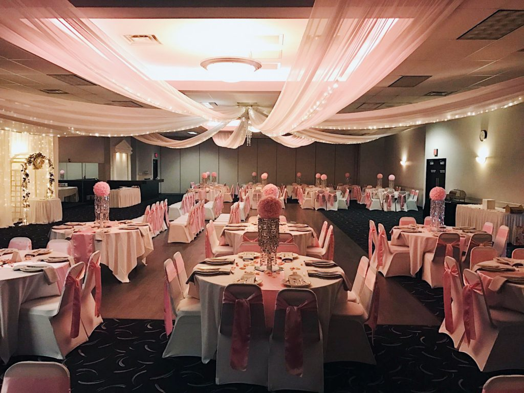 A beautiful pink wedding reception and indoor ceremony at DC Centre.