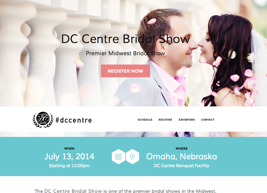 DC Centre Bridal Show Website