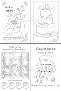 Coloring book for children at weddings
