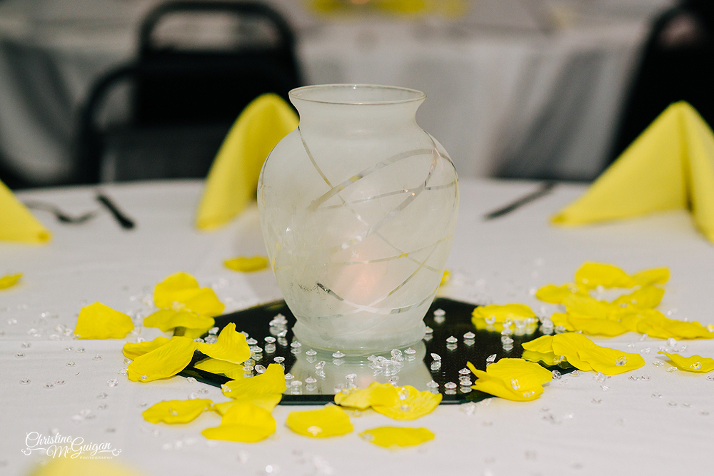Yellow Wedding Guest Table Decor